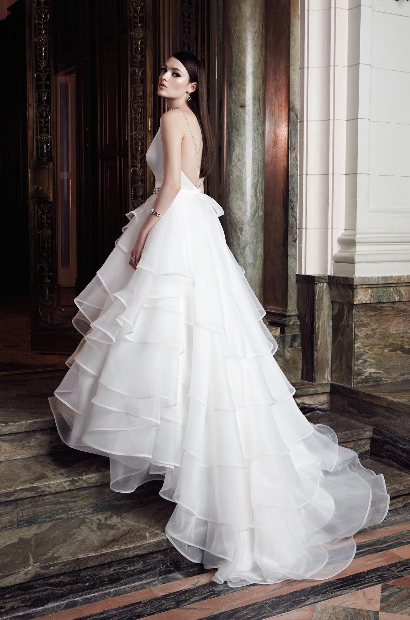 layered ball gown wedding dress style 2006 mikaella bridal