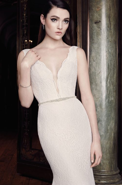 Plunging Lace Wedding Dress - Style #2016 | Mikaella Bridal