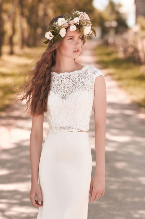 Crop Top Wedding Dress - Style #2053 | Mikaella Bridal