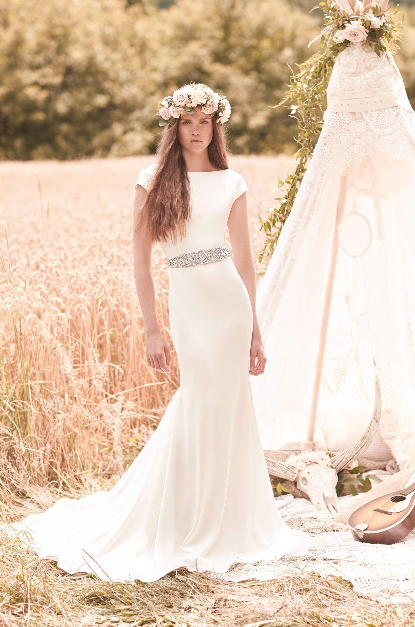Cap sleeve wedding dress style 2061 mikaella bridal for Wedding dresses with capped sleeves