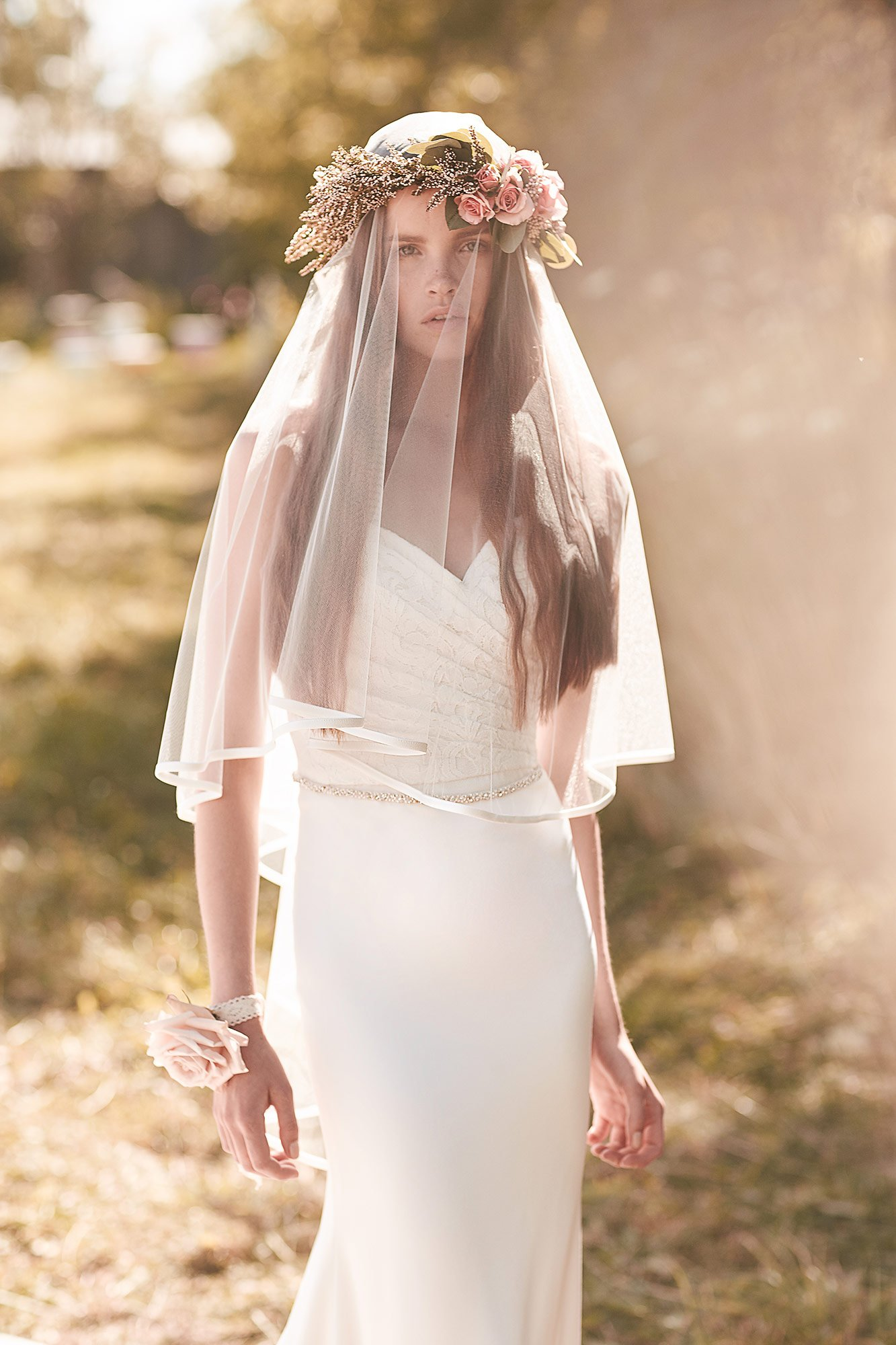 Cr pe trimmed veil style vm459f mikaella bridal for Wedding dress with veil
