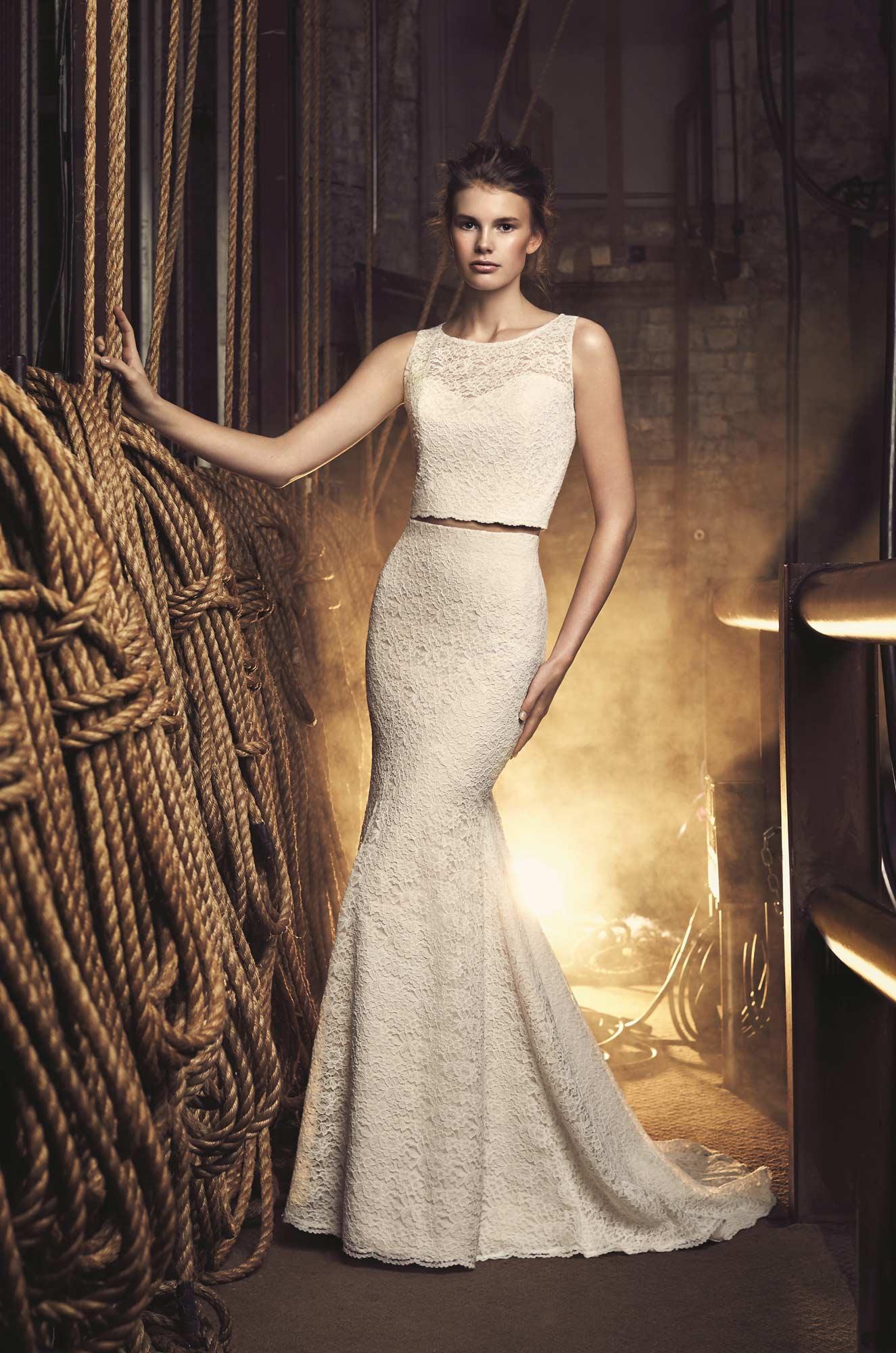 Cropped Lace Wedding Dress - Style #2075 | Mikaella Bridal