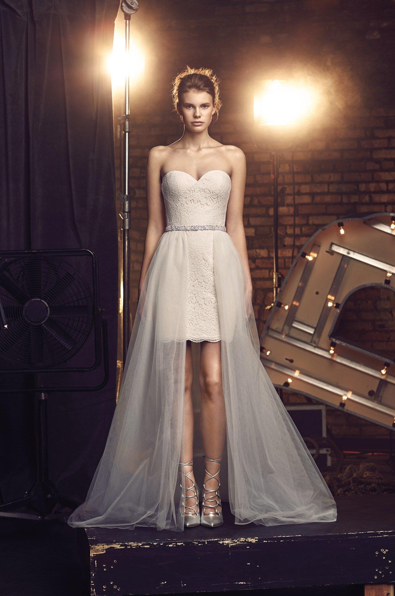 Short Lace Wedding Dress - Style #2076 | Mikaella Bridal