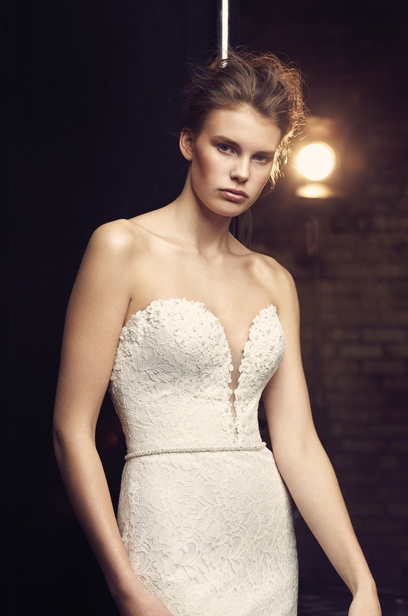 Plunging Neckline Wedding Dress - Style #2077 | Mikaella Bridal
