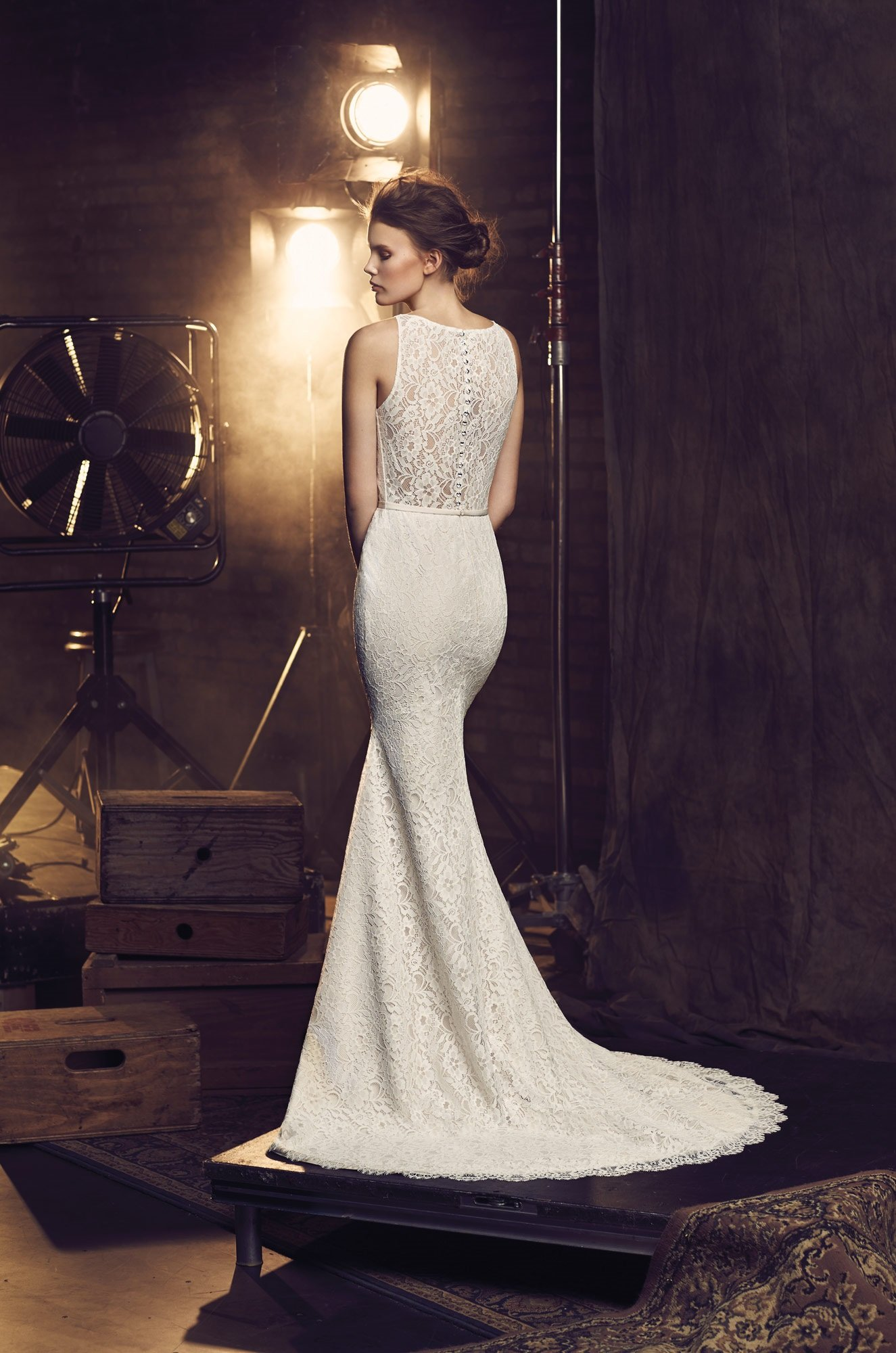 Fitted lace wedding dress style 2078 mikaella bridal for Fitted lace wedding dress