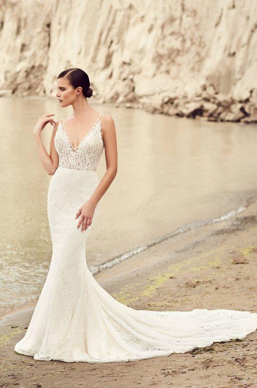 Deep V-Neck Wedding Dress - Style #2100 | Mikaella Bridal