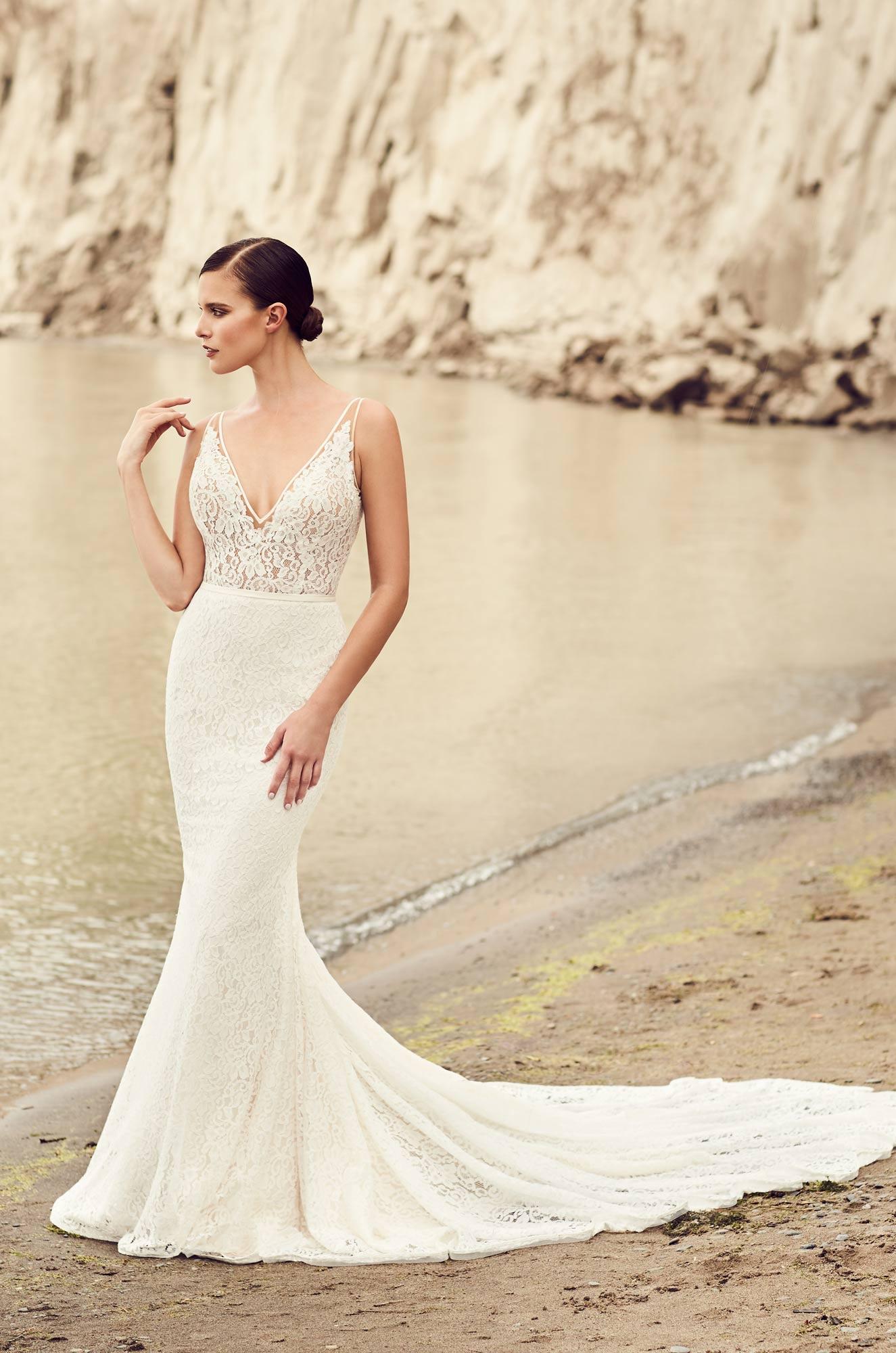 Deep v neck wedding dress style 2100 mikaella bridal for Wedding dress neckline styles