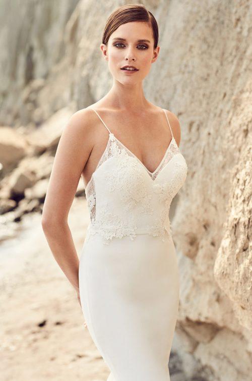 Embroidered Neckline Wedding Dress - Style #2102 | Mikaella Bridal