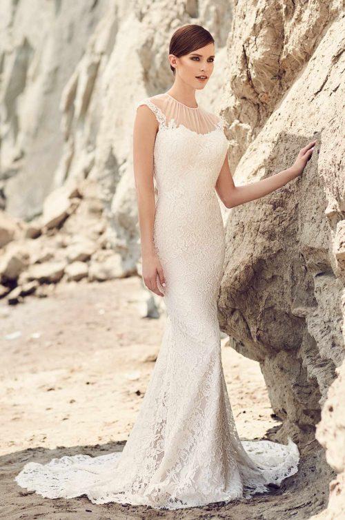 Illusion Tulle Neckline Wedding Dress - Style #2104 | Mikaella Bridal