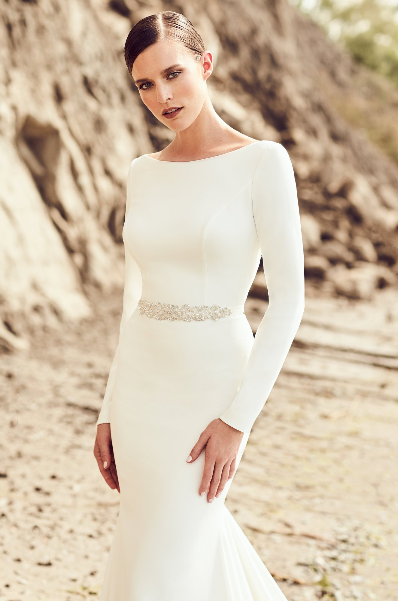 High Neckline Wedding Dress - Style #2105 | Mikaella Bridal