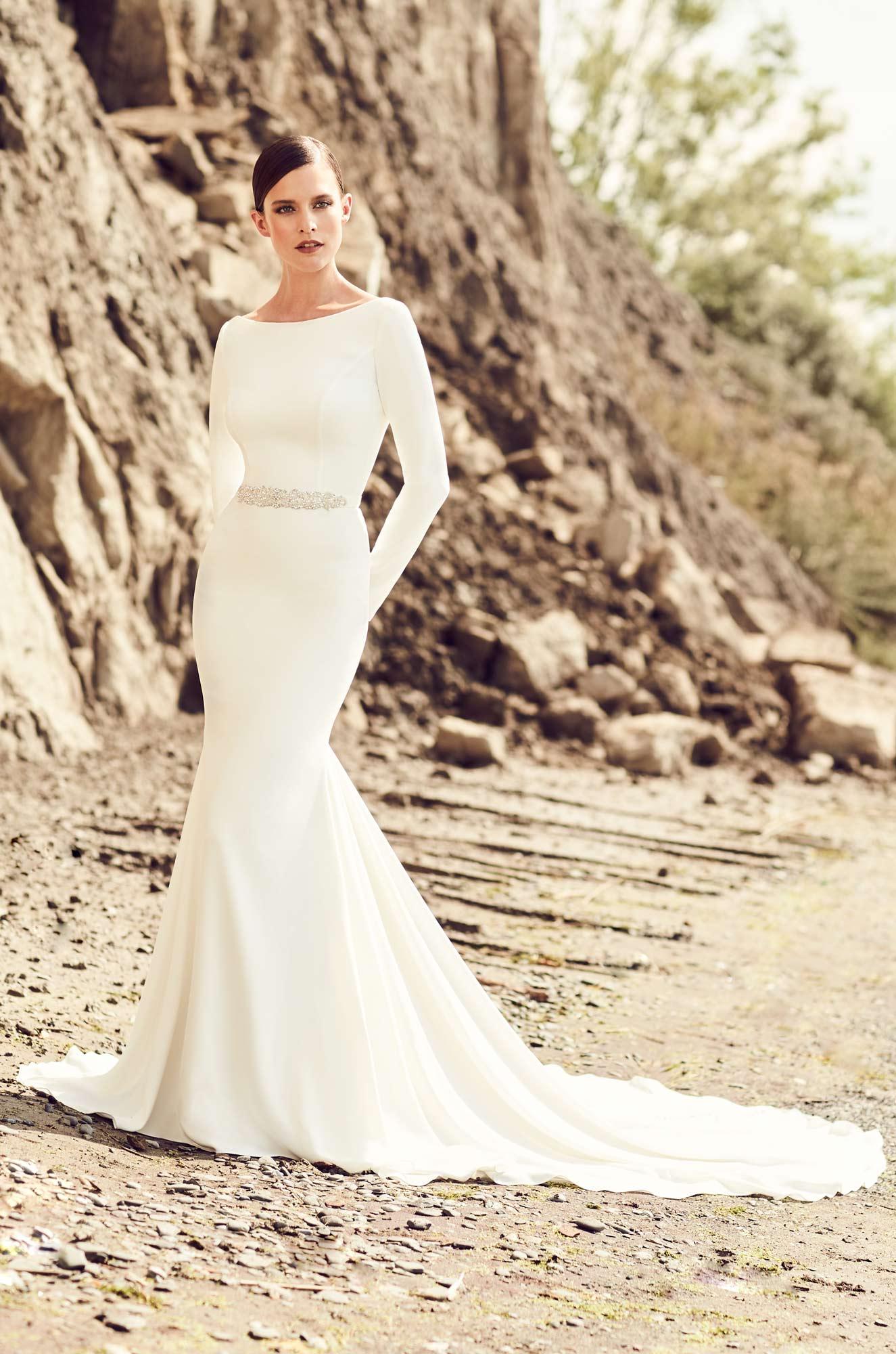 High neckline wedding dress style 2105 mikaella bridal for Wedding dress neckline styles