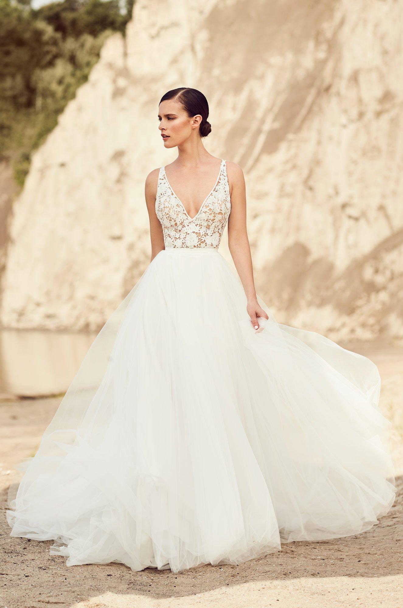 Flowing tulle wedding dress style 2106 mikaella bridal junglespirit Gallery