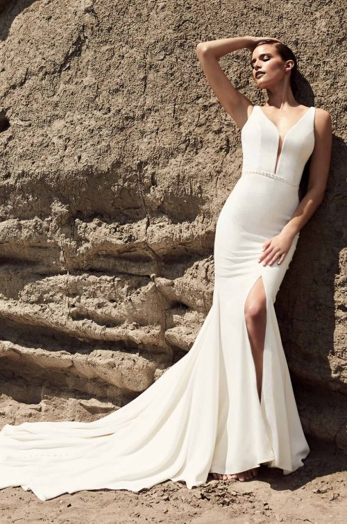 Skirt Slit Wedding Dress - Style #2107 | Mikaella Bridal