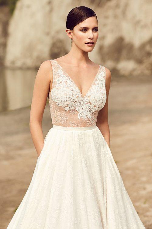 Illusion Lace Bodice Wedding Dress - Style #2114   Mikaella Bridal