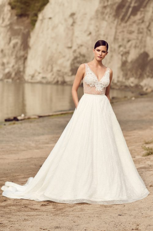 Illusion Lace Bodice Wedding Dress - Style #2114 | Mikaella Bridal
