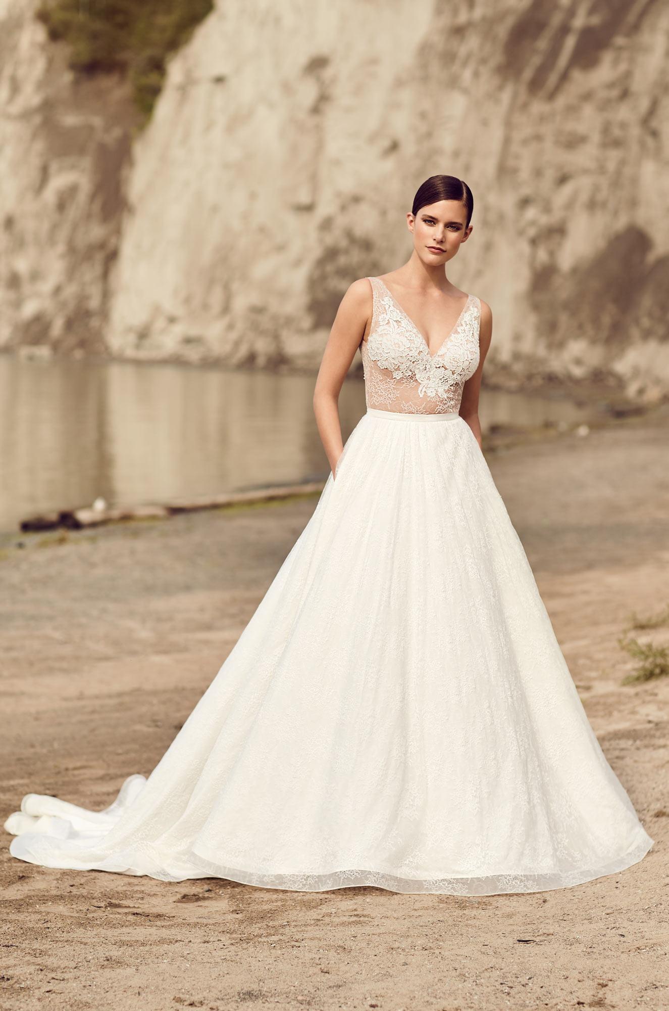 Illusion Lace Bodice Wedding Dress - Style #2114 | Mikaella Bridal