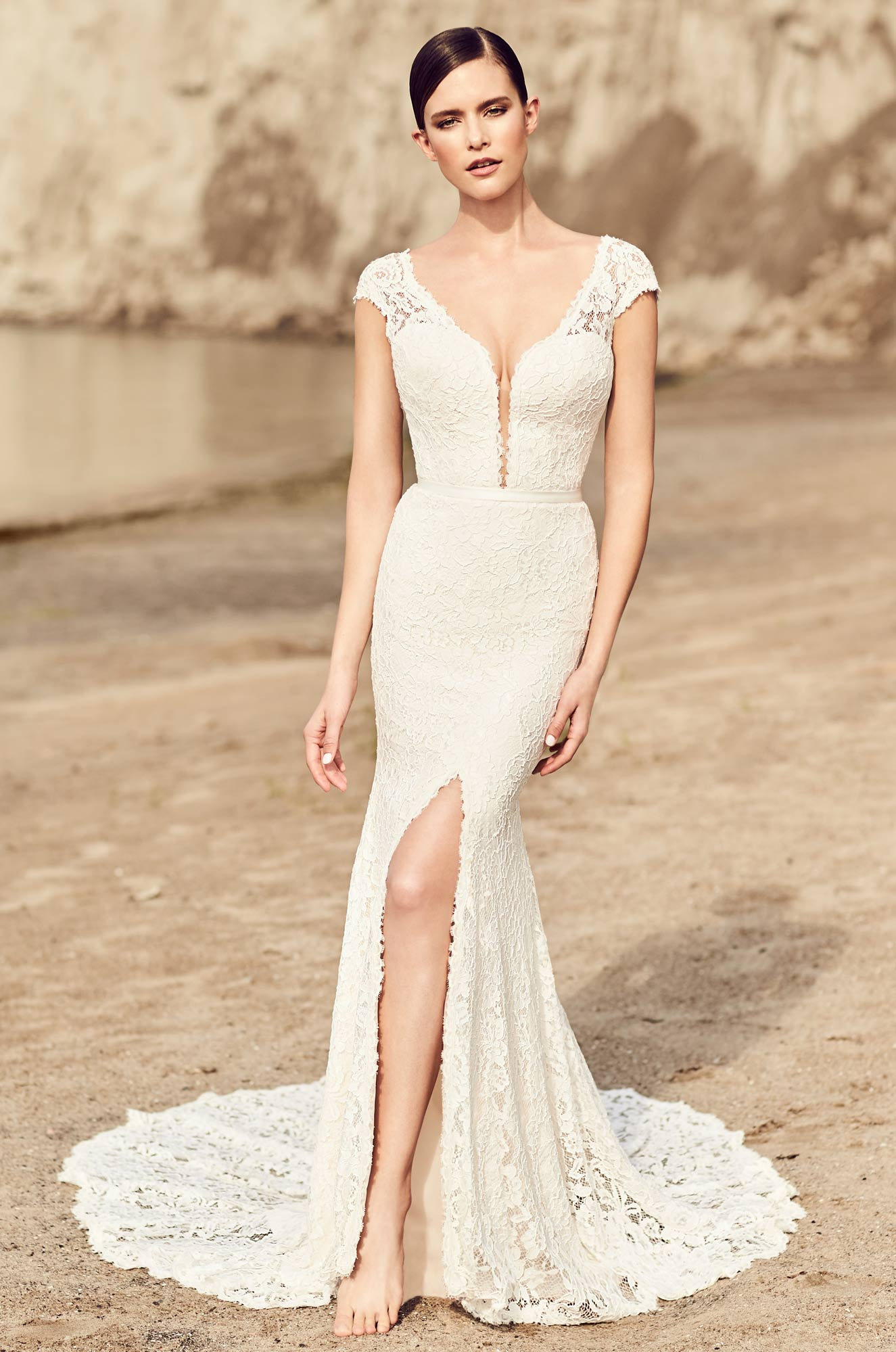 High Slit Lace Wedding Dress - Style #2116 | Mikaella Bridal