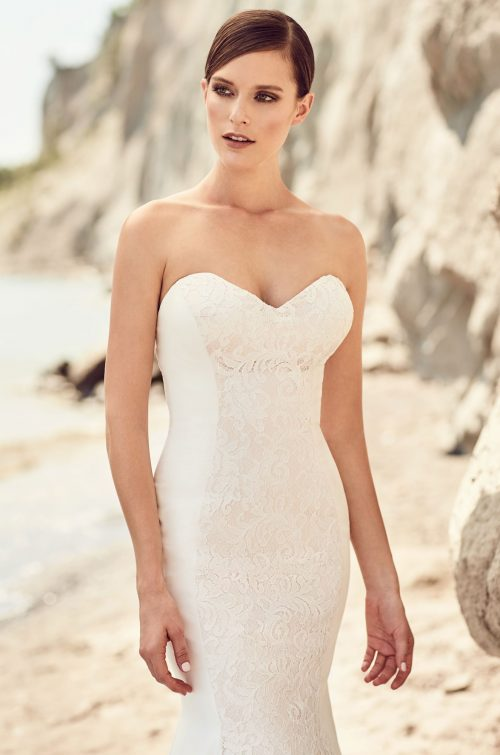 Lace Accent Crêpe Wedding Dress - Style #2117 | Mikaella Bridal