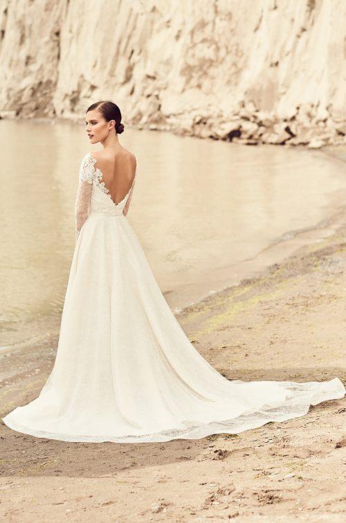 Embroidered Long Sleeve Wedding Dress - Style #2118 | Mikaella Bridal