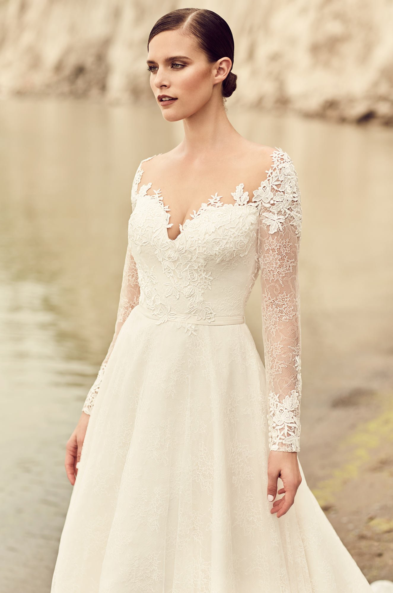 Embroidered Long Sleeve Wedding Dress - Style #2118 | Mikaella Bridal