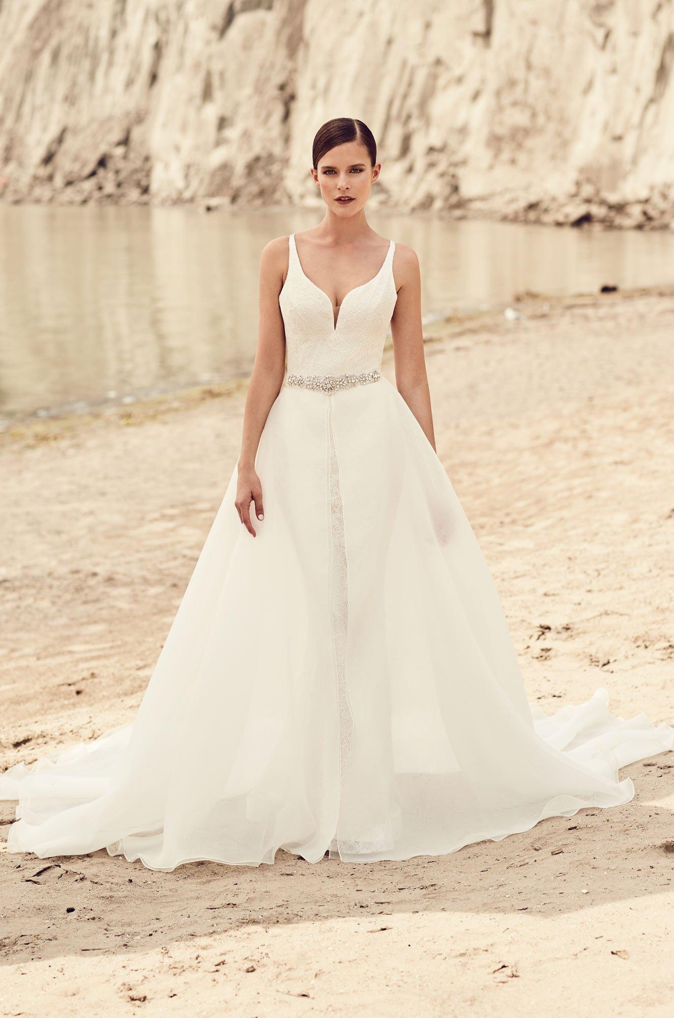 Detachable Organza Skirt Wedding Dress - Style #2120 | Mikaella Bridal