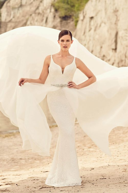 Detachable Organza Skirt Wedding Dress - Style #2120 | Mikaella Bridal