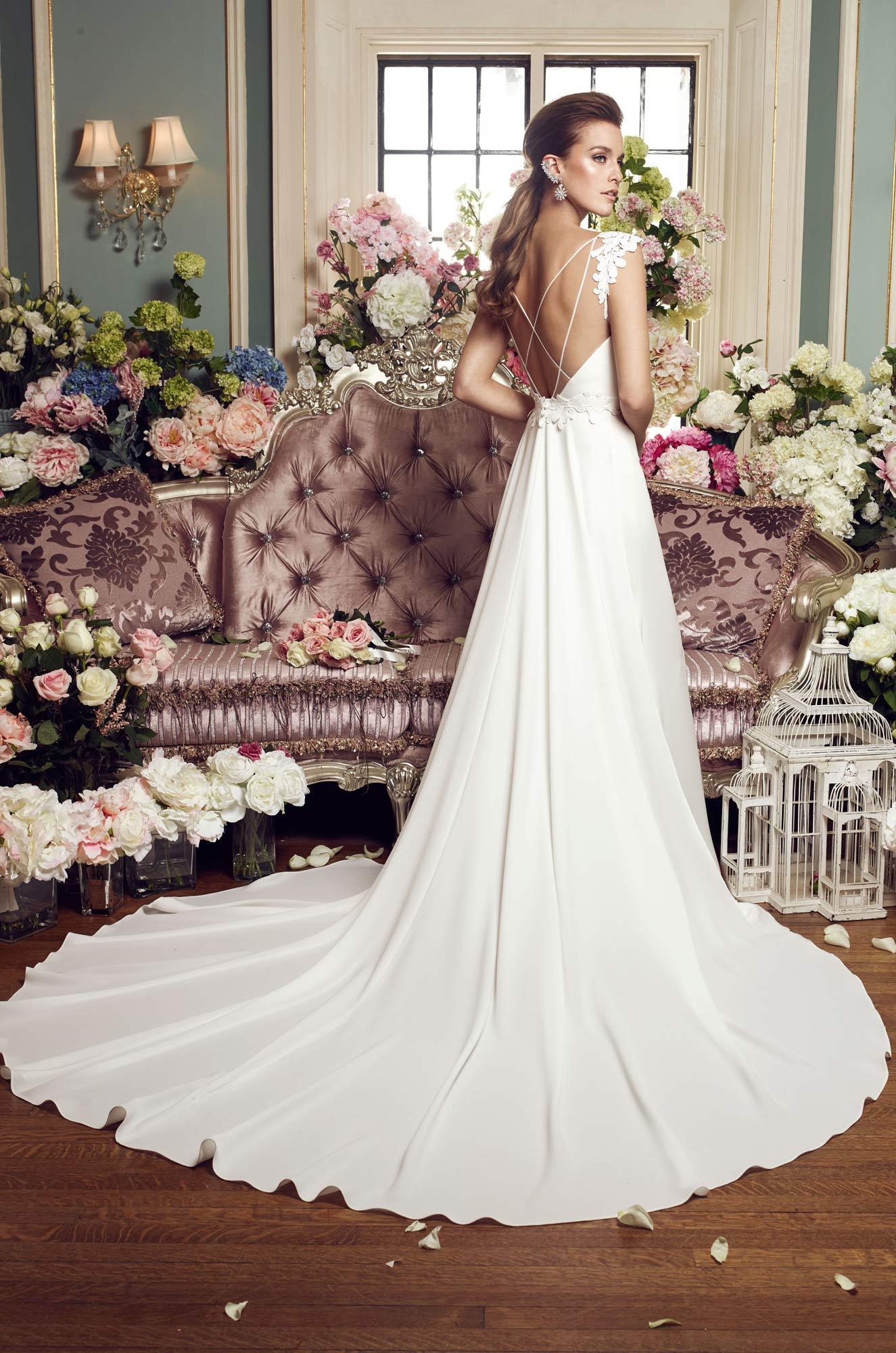 Detachable train wedding dress style 2160 mikaella bridal junglespirit Gallery