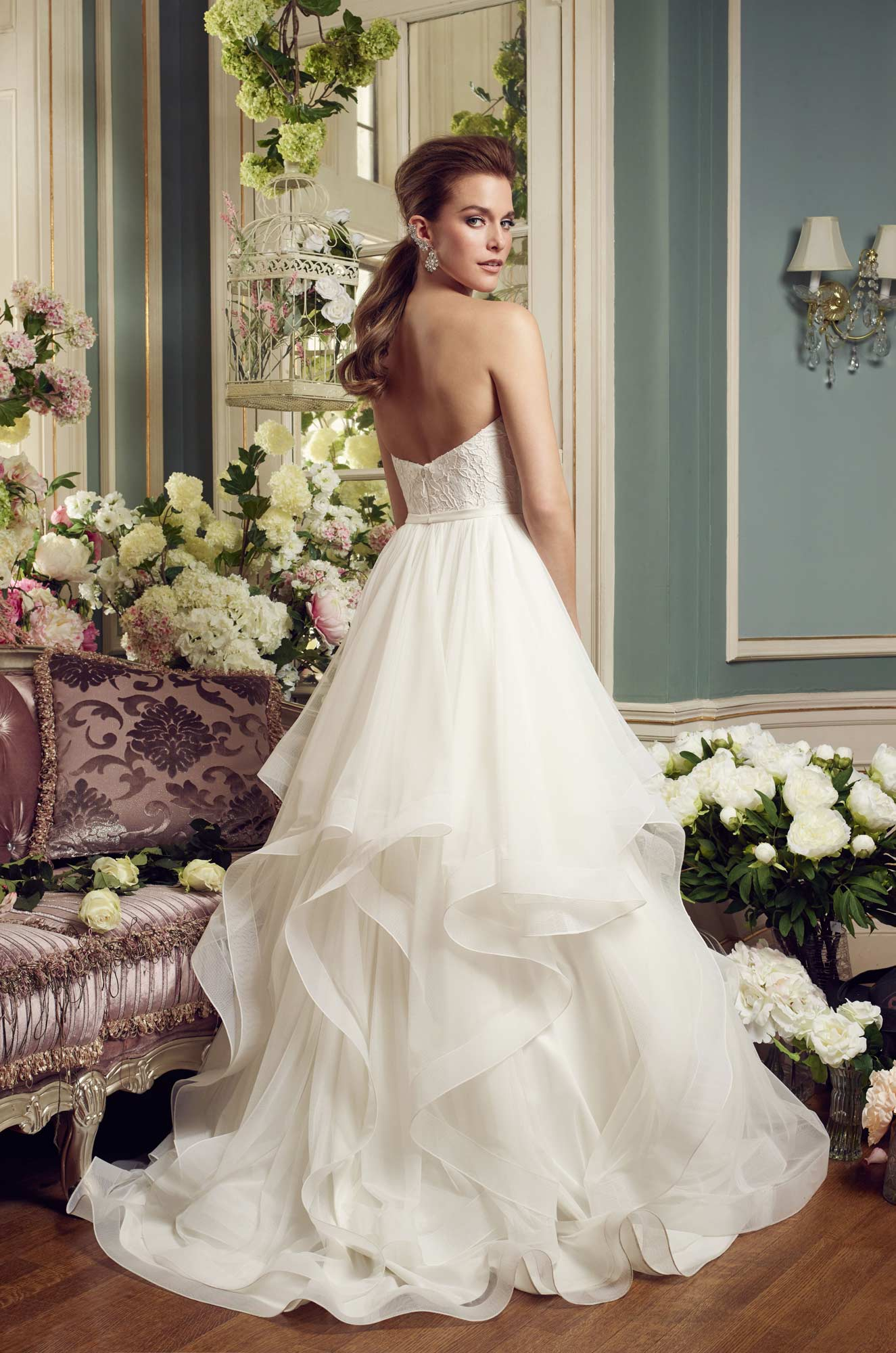 Cascading ruffles wedding dress style 2168 mikaella for Cascading ruffles wedding dress