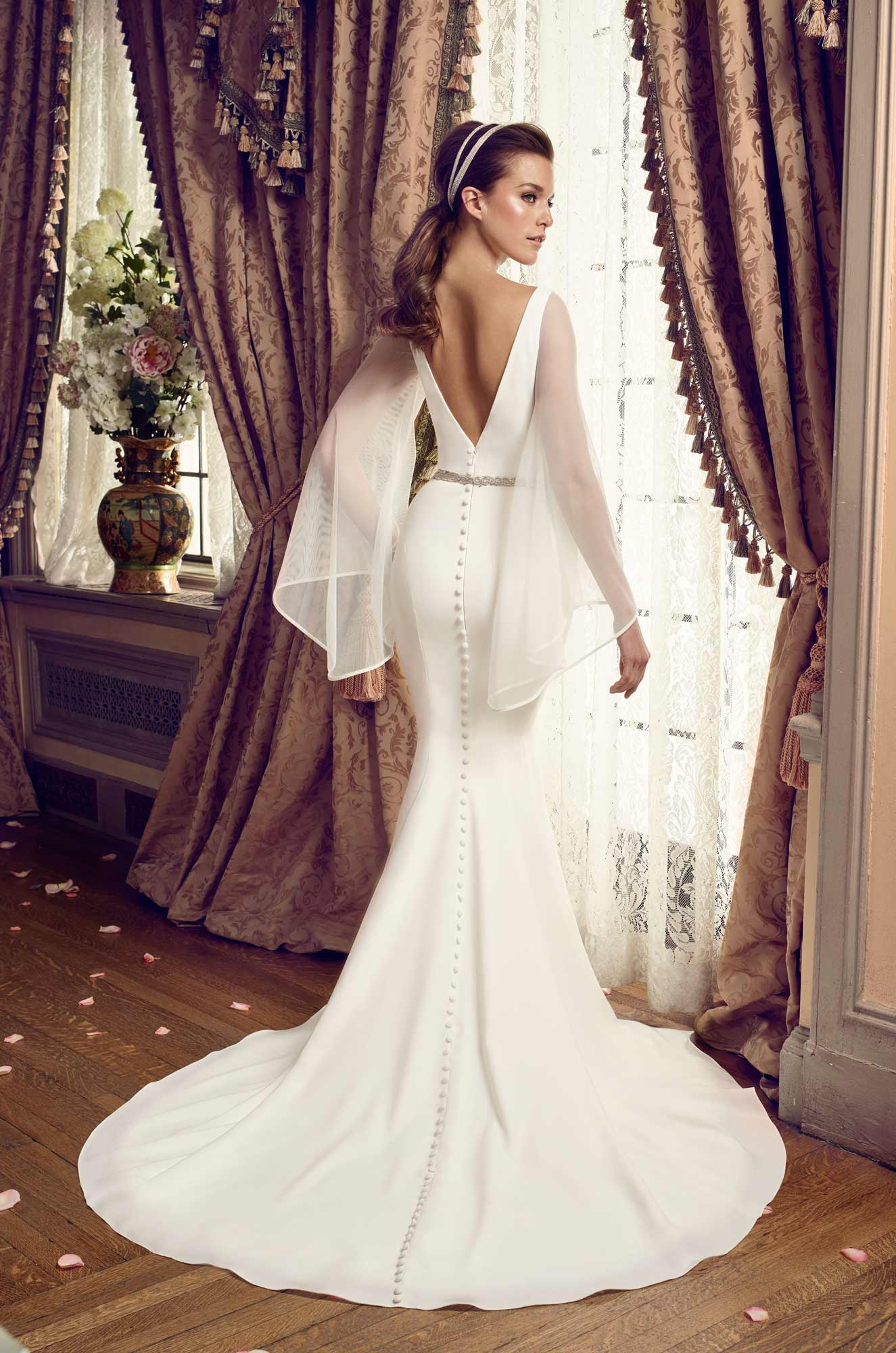 Bell Sleeve Wedding Dress - Style #2169 | Mikaella Bridal
