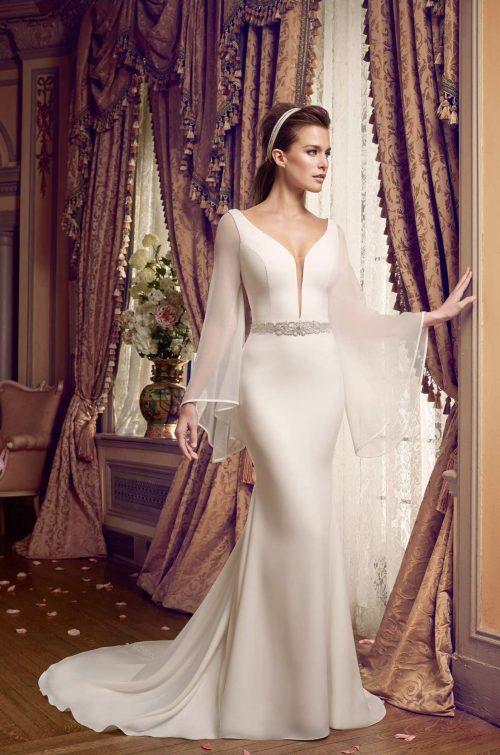 Bell Sleeve Wedding Dress - Style #2169 | Mikaella Bridal