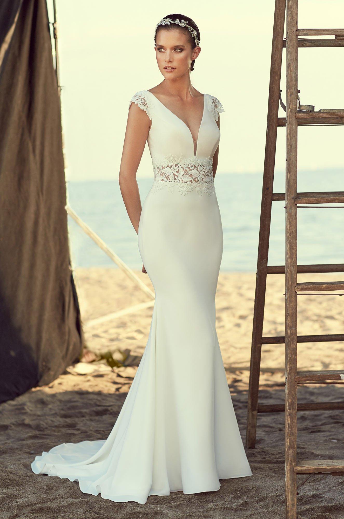 Sheer Midriff Wedding Dress - Style #2181 | Mikaella Bridal