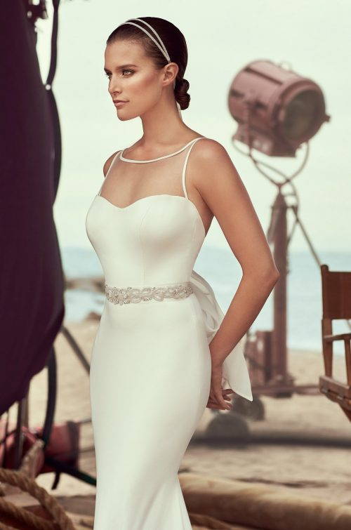 Bateau Neckline Wedding Dress - Style #2183 | Mikaella Bridal