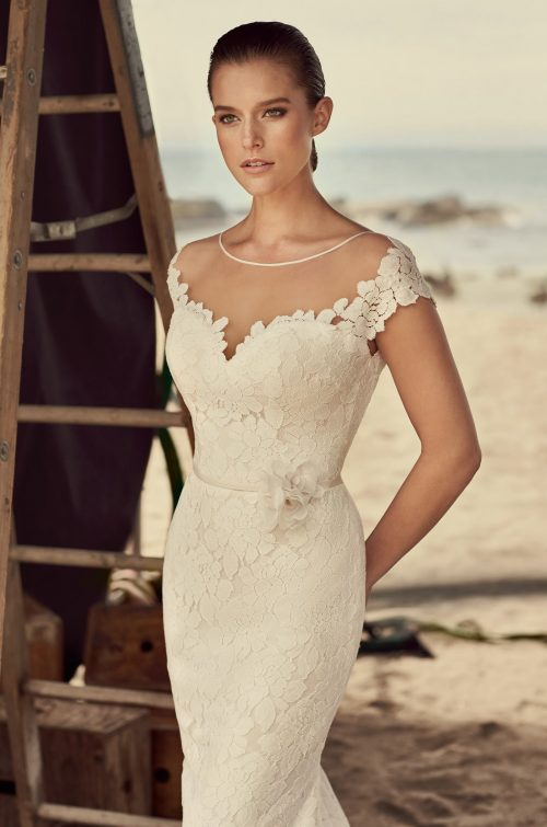 Sheer Cap Sleeve Wedding Dress - Style #2185 | Mikaella Bridal