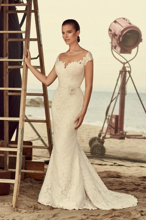 Sheer Cap Sleeve Wedding Dress - Style #2185 | Mikaella Bridal