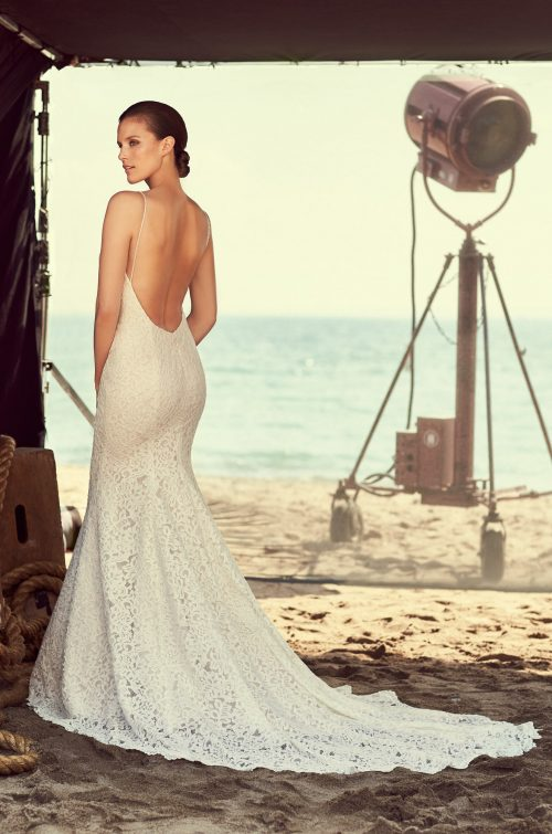 Lace Scoop Neck Wedding Dress - Style #2186 | Mikaella Bridal