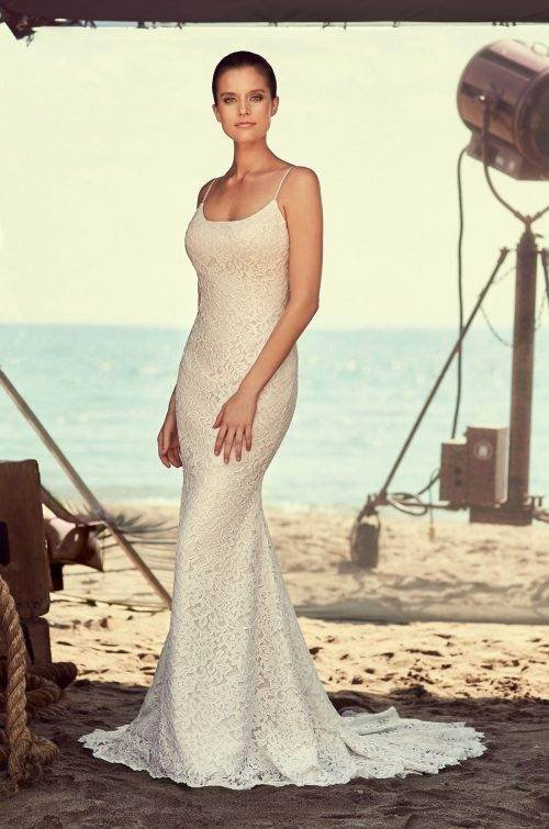 Lace Scoop Neck Wedding Dress - Style #2186 | Mikaella Bridal