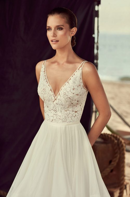 Layered Tulle Skirt Wedding Dress - Style #2191   Mikaella Bridal