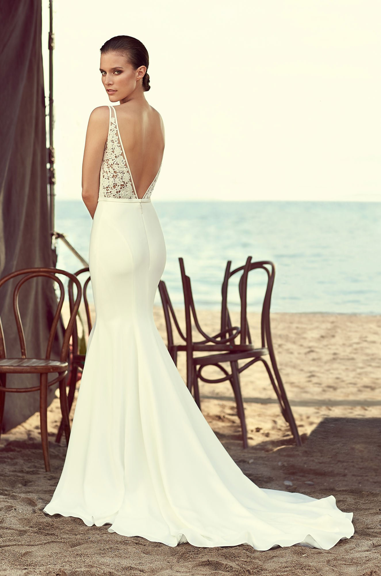 Sleek fitted wedding dress style 2195 mikaella bridal for Fitted lace wedding dress