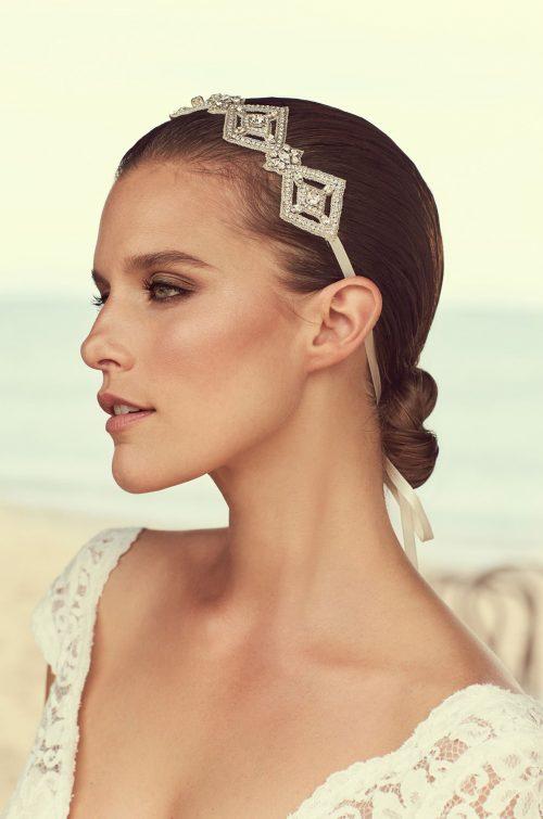 Diamond Shaped Beaded Hairband - Style #MHB102 | Mikaella Bridal