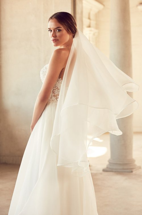 Two Tier Organza Veil - Style #VM485F | Mikaella Bridal