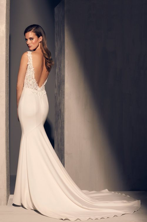 Crêpe Boat Neckline Wedding Dress - Style #2206 | Mikaella Bridal
