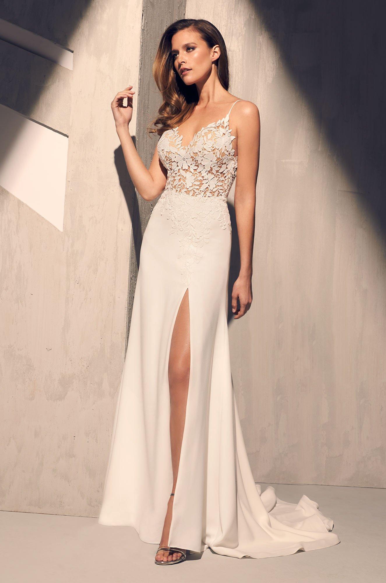 Sheer Floral Bodice Wedding Dress - Style #2208 | Mikaella Bridal