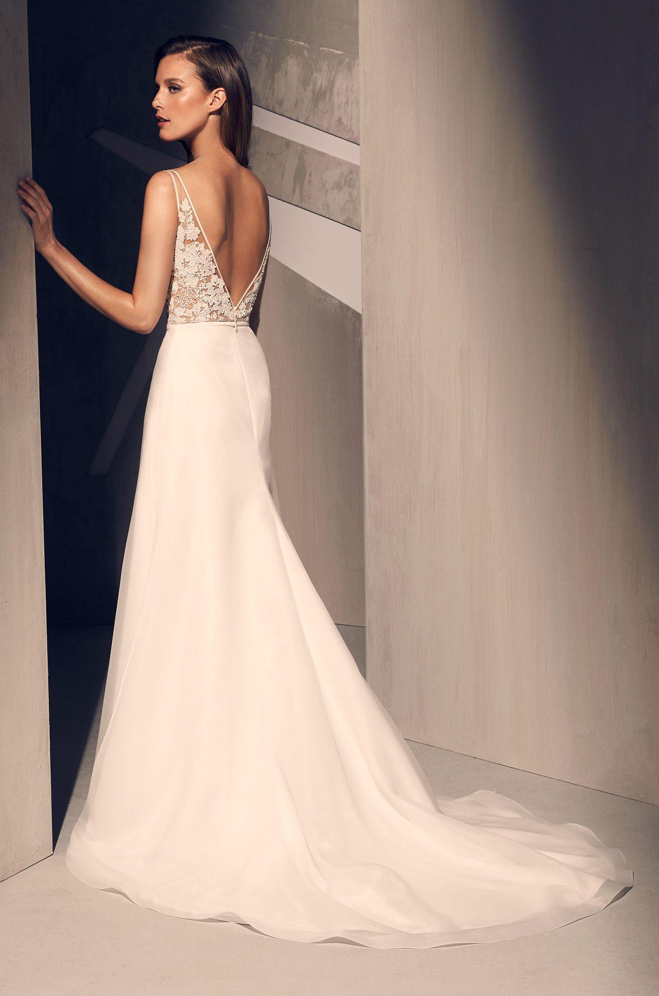 Sheer Sequin Lace Wedding Dress - Style #2210   Mikaella Bridal