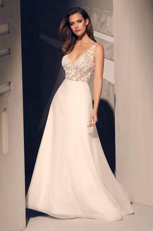 Sheer Corset Wedding Dress - Style #2210 | Mikaella Bridal
