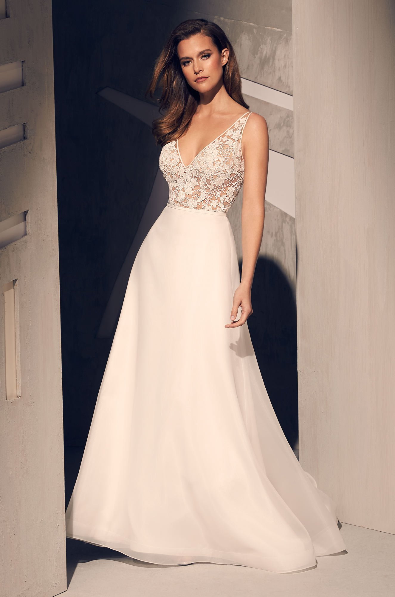 Sheer Sequin Lace Wedding Dress - Style #2210 | Mikaella Bridal