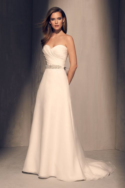 Pleated Bodice Wedding Dress - Style #2213 | Mikaella Bridal