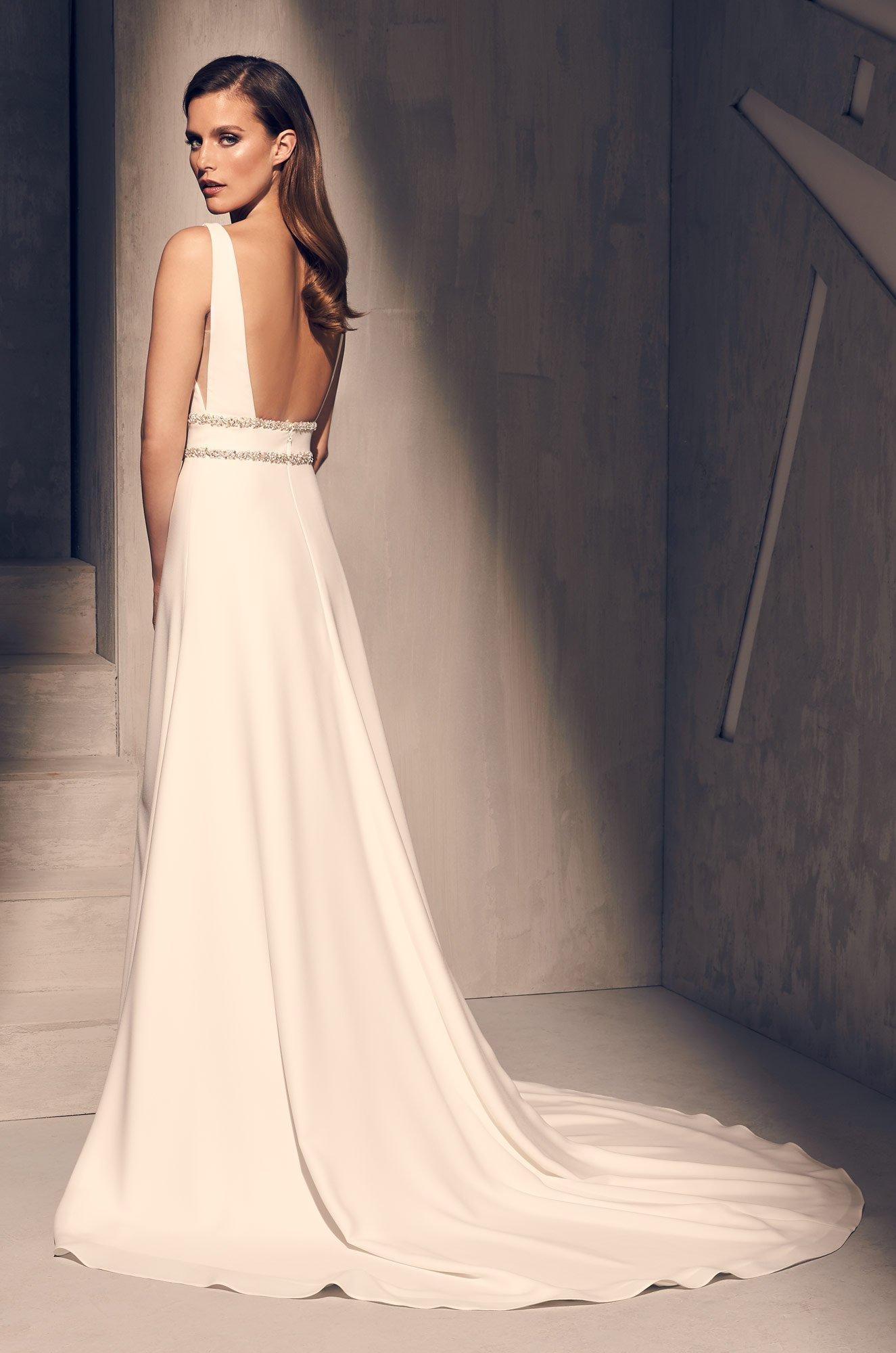 Dazzling Crêpe Wedding Dress - Style #2214 | Mikaella Bridal