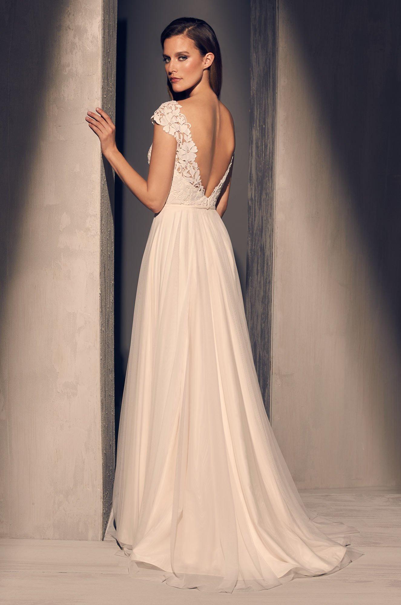 Guipure Cap Sleeve Wedding Dress - Style #2216 | Mikaella Bridal