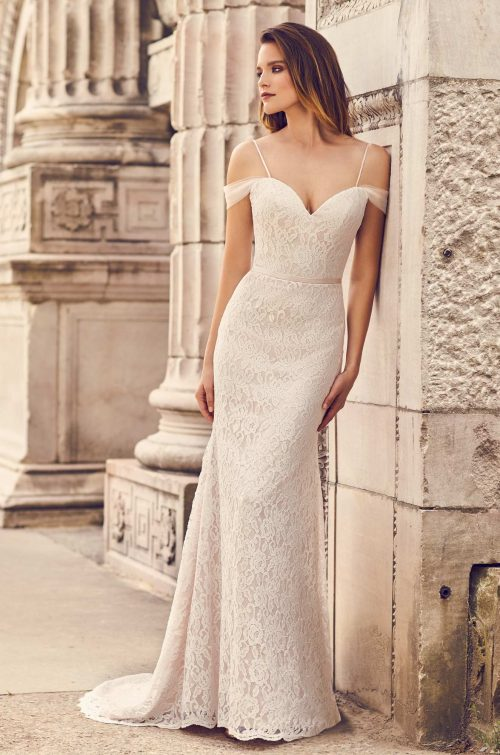 Draped Tulle Sleeve Wedding Dress - Style #2228 | Mikaella Bridal
