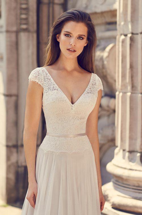 Elegant Cap Sleeve Wedding Dress - Style #2229 | Mikaella Bridal